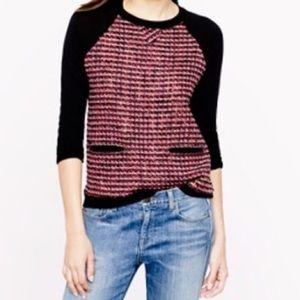 J. Crew Tweed-Front MerinoSweater in Black size xl